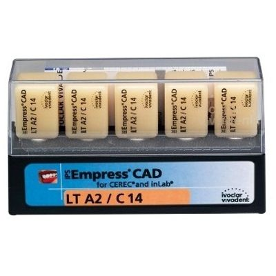 Buy IPS Empress CAD LT Block, Shade A2 Size C14 5/Pk  CEREC blocks, LT -  Ceramic milling blocks - CAD CAM products for $83 7 & Other Dental Supplies  :